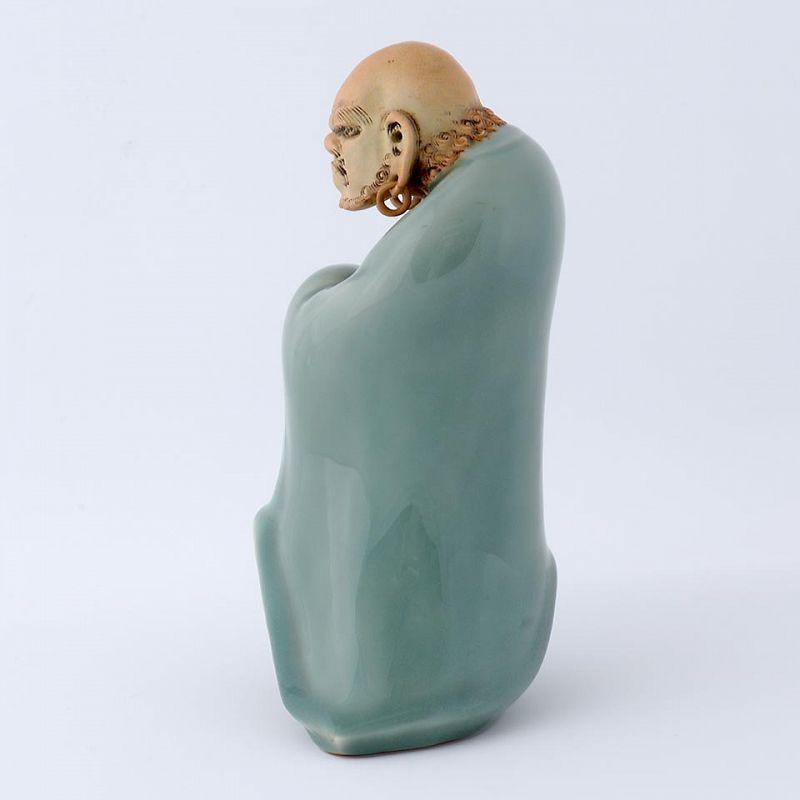 Japanese Studio Celadon Porcelain Daruma Okimono, Sealmark.
