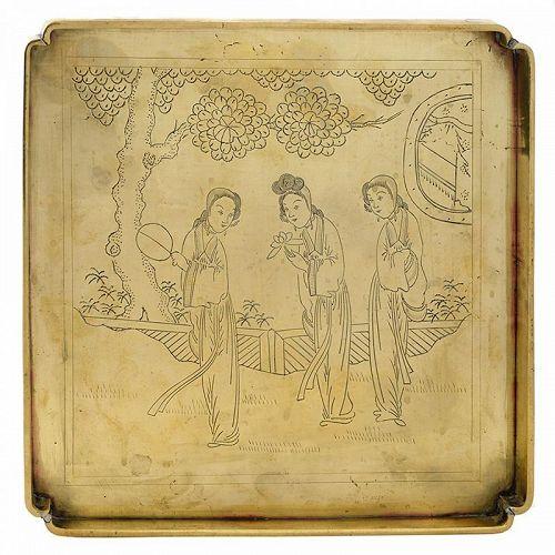 Chinese Paktong Opium Smoking Tray w. Three Female Gods, Late Qing.