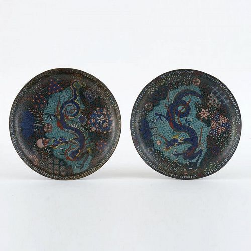 Pair of Early Japanese Cloisonne Enamel Plates with Dragon, 1860/70's
