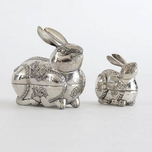 Two Old Cambodian Figural Silver Betel Boxes in Rabbit Form, c. 1950.