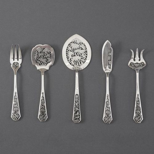 Set of Antique Pierced Chinese Export Silver Serving Cutlery.