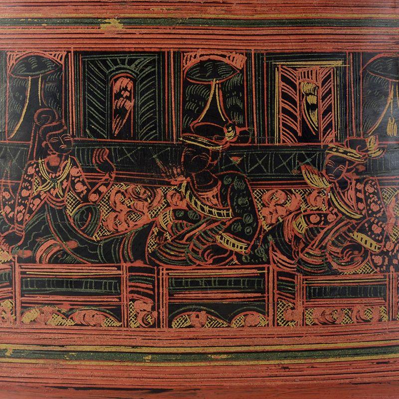 "Antique Burmese Yun Lacquer Betel Box w. Royal Scenes, ""kun it"" No. 5."