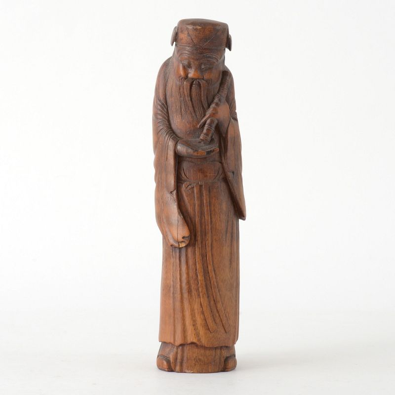 Large Antique Chinese Bamboo Carving of Immortal Zhang Guolao, c. 1900