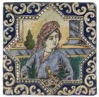 Persian Qajar Pottery Tile with Young Nobleman, 19th C.
