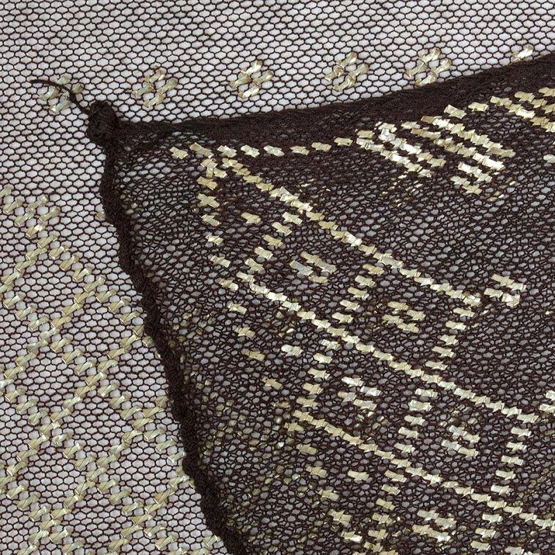Antique Brown/Black Egyptian Assuit Shawl Veil Lace No. 1, c. 1920.