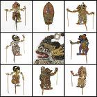 """Rare Set of Eight Old Wayang Kulit Shadow Puppets """"Ringgits"""", Bali."""