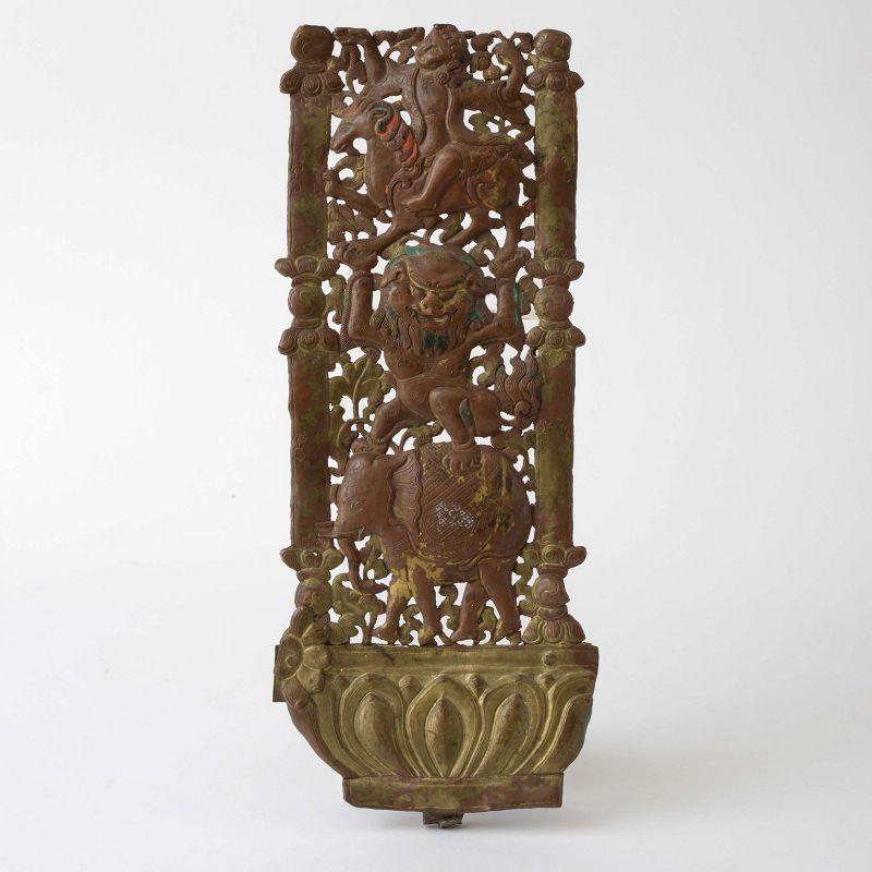 Himalayan Buddhist Gilt Copper Repousse Torana Fragment, 19th C.