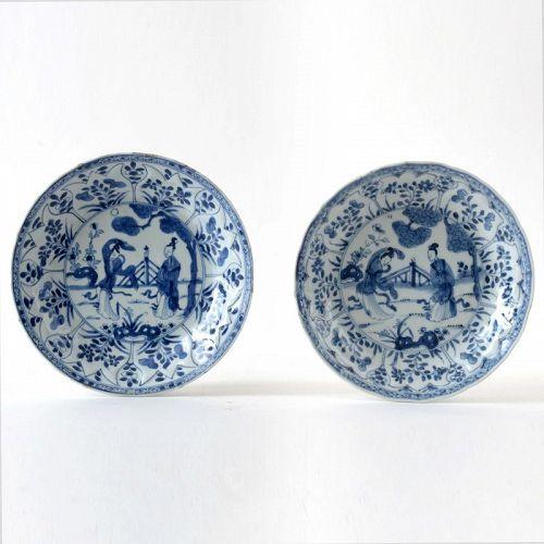 """Two Chinese B & W Moulded Porcelain Plates w. """"Lange Lijzen"""", Kangxi"""