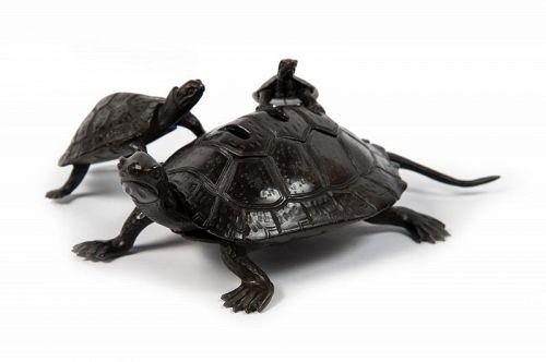 Japanese Bronze Turtles Incense Burner