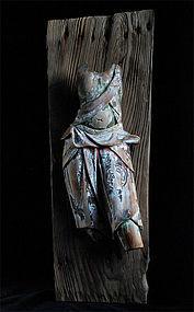 Wooden Fragment Zanketsu Deva Tenbu Buddhist pre-Edo