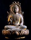 Yakushi Nyorai Healing Buddha antique wooden sculpture
