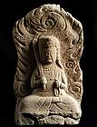 Seated Stone Fudo Myo Acala Dai-Nichi Buddha Edo 19 c.