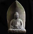 Stone Yakushi Nyorai Healing Buddha Sandstone Edo 18c