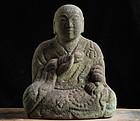 Stone Kukai Kobo Daishi  Shingon Edo 19 c.