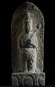 Stone Granite Sho-Kannon Bosatsu Enpo 3 (1675) Early-Edo