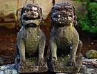 Stone Koma-Inu Pair Guardian Beasts Meiji ca. 1900