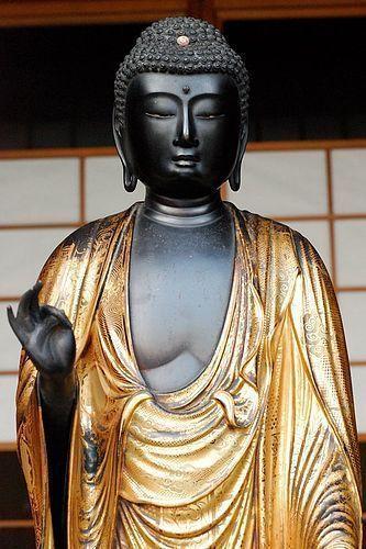 Wooden Standing Amida Nyorai Buddha Nanbokucho/Muromachi