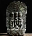 Stone Three-Jizo Bosatsu Bodhisattva Mid-Edo 18 c.