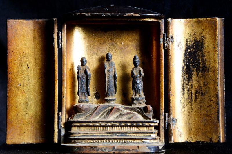 Bronze Triad Amida Buddha Jizo Kannon Bodhisattva Zushi Muromachi 16 c