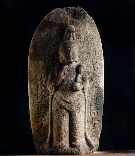 Stone Standing Sho-Kannon Bosatsu mid-Edo Period ca. 1700