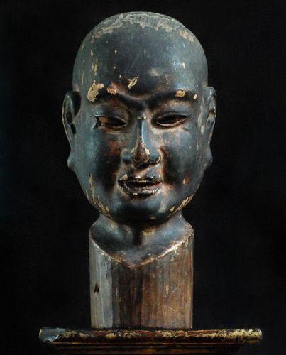 Wooden Chinsou Buttou Zen Master Portrait Sculpture 16/17 c.