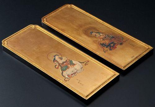 Pair Gilt-Wood Plaque Paintings of Fugen and Monju Bosatsu Edo 18/19 c