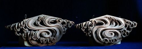 Pair of Cloud-Form Buddhist or Shinto Architectural Elements Edo 18 c.