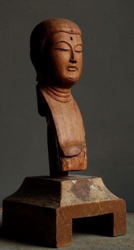 Wooden Jizo Bosatsu Head Fragment Nanbokucho~Early Muromachi ca. 1400