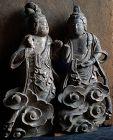 Pair of Polychromed-Wood Bodhisattvas on Clouds Kamakura/Nanbokucho