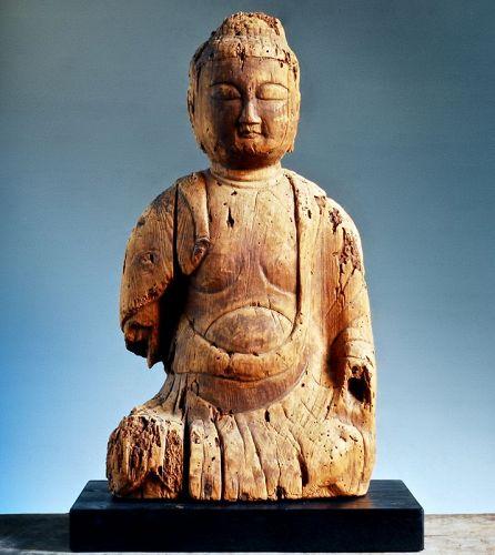 Seated Wooden Buddha Nyorai Heian Period ca. 1100
