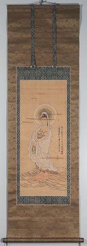 Kakejiku Scroll Painting of Byaku-e (White-Robed) Kannon Bosatsu Edo