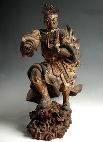 Polychrome-wood Idaten Tenbu Deva early-Edo 17 c.