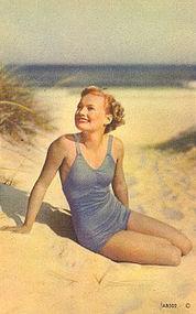Linen  Postcard, Bathing Beauty