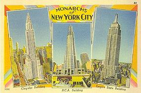 Linen Postcard, Monarchs of New York