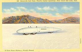 """""""Bonneville Salt Flats"""" Linen Postcard, Curt Teich"""