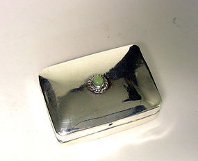 Mexico Sterling Silver Pill Box With Turquoise