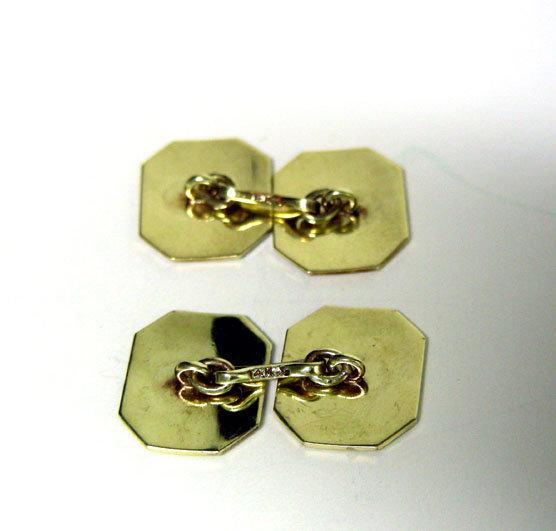 Edwardian White & Yellow Gold Double Sided Cufflinks