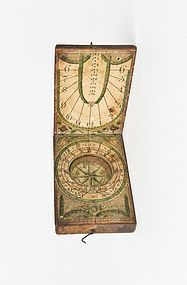 Antique Fruitwood and Paper Diptych Pocket Sundial