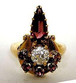 A Retro Style 14k Gold,diamond And  garnet Ring
