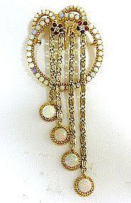 A 14k Gold, Opal, Diamond And Garnet  circle Brooch