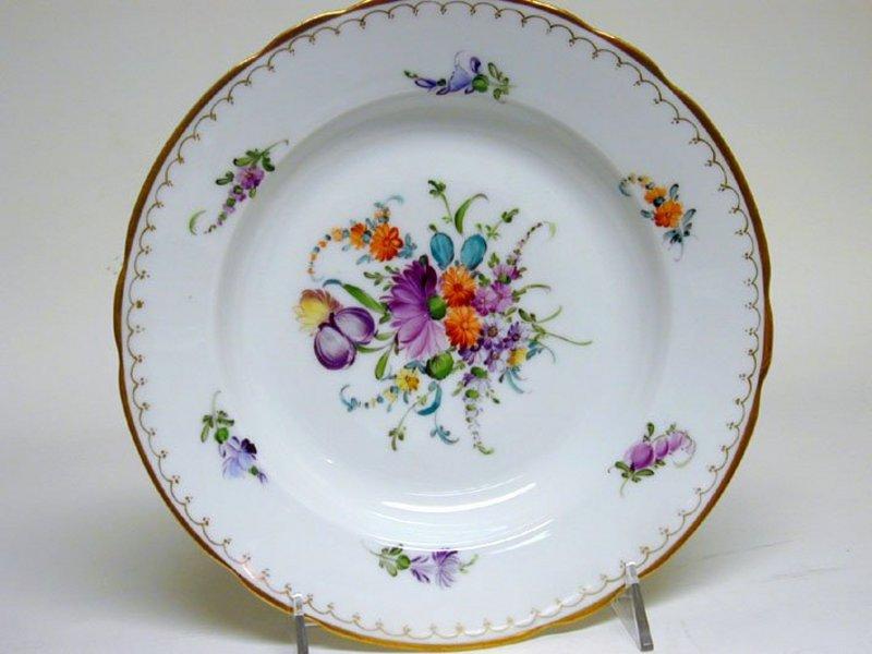 Set of Nine Dresden Flower Soup Bowls, 20th C