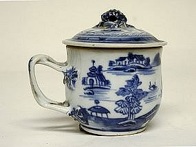 Chinese Export Blue And White Cup With Lid