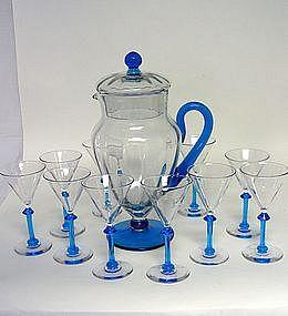 Vintage Set Of Crystal Cocktail  Glasses  and Pitcher