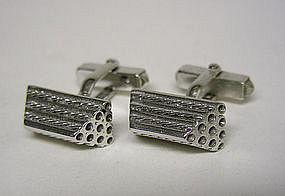 Vintage Modernist Silver Toggle Back cufflinks