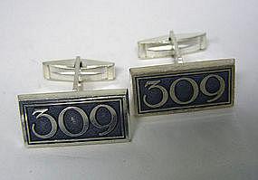 Vintage Sterling Toggle Back cuff Links