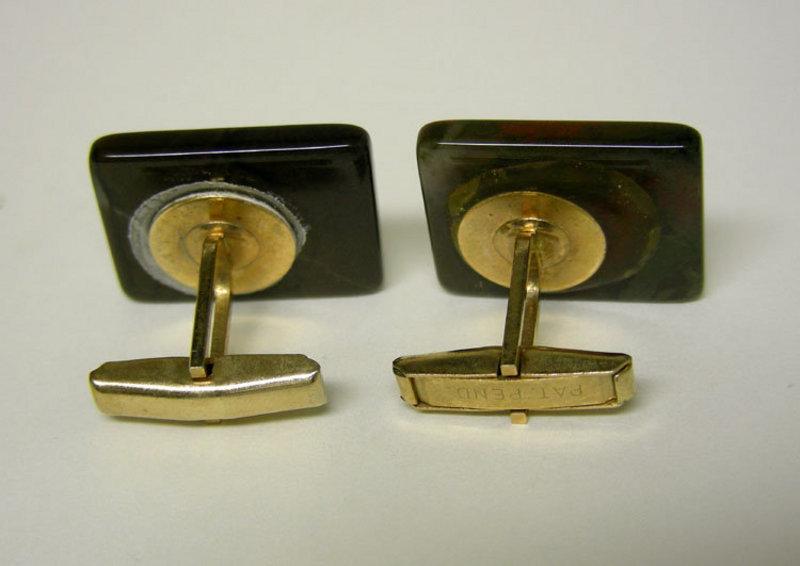 Art Deco Agate Toggle Back Cufflinks