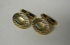 Edwardian Gold Filled Oval Toggle Back  cufflinks