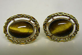 Vintage 14k And Tiger Eye Toggle Back Cufflinks