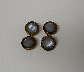 Pair Of Arts And Crafts Copper And Pearl  cuff Links