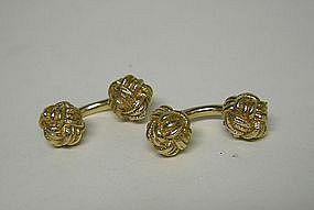 Vintage Gold Tone Barbell Cufflinks
